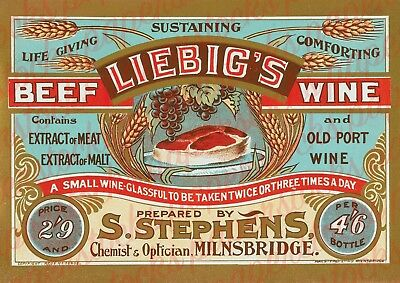 c.1800's 'LIEBIG'S BEEF WINE' MILBRIDGE MEDICAL HOUSEHOLD ADVERTISING A3 PRINT