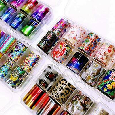 10Rolls/box Holographic Nail Foil Transparent Starry Sky Transfer Stickers Tips