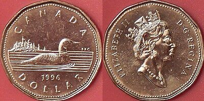 Brilliant Uncirculated 1996 Canada 1 Dollar From Mint's Roll