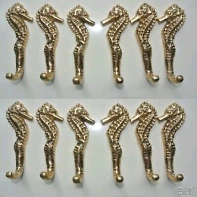 12 small SEAHORSE solid pure brass polished HOOKS COAT wall mounted beach 8 cm B