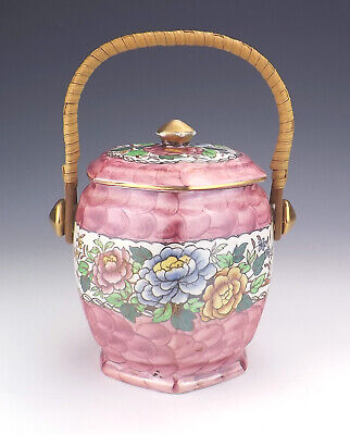Maling Pottery - Peony Rose Pattern Lustre Biscuit Barrel - Art Deco!
