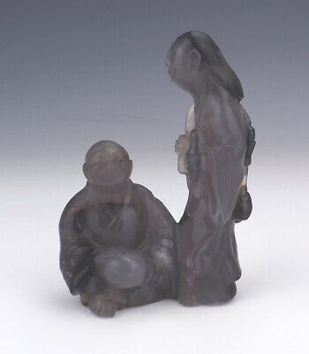 Antique Chinese Carved Hardstone - Oriental Lady & Man Figure - Early!