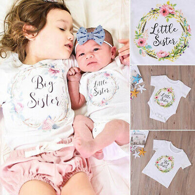 Newborn Girl Baby Kids Little Sister Romper Bodysuit Big Sister T-Shirt