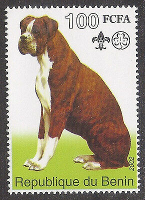 Dog Art Full Body Portrait Postage Stamp UnCropped Sitting BOXER Benin 2002 MNH