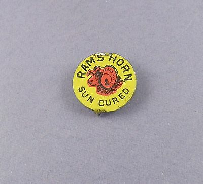 Ram's Horn Sun Cured Tobacco Tag - Original Vintage Tin Tag