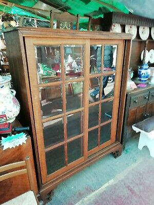 Large Very Heavy Oak Bookcase With Sliding Doors
