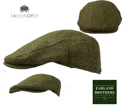 Failsworth English Tweed Flat Cap - Abraham Moon Tweed Merino Green Herringbone