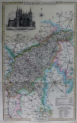 NORTHAMPTONSHIRE  BY ISAAC SLATER GENUINE ANTIQUE MAP HAND COLOUR  c1846