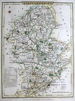 STAFFORDSHIRE  STAFFORD BY ROPER & COLE GENUINE ANTIQUE MAP HAND COLOUR  c1810