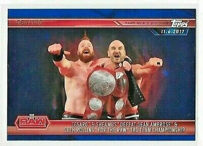 Topps WWE CHAMPIONS  2019  BASE CARD 009  BLUE  PARALLEL 084/100  BY TOPPS RARE