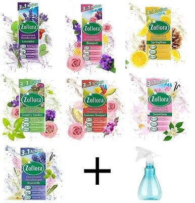 4 Pack Zoflora Concentrated Disinfectant Germs 56ml With Elliott Spray Bottle