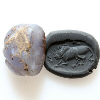Intact Bactria Aged Stone Bead Seal Circa 100 Bc Depicting Lion