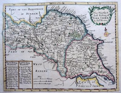 YORKSHIRE NORTH EAST RIDING BY ROBERT MORDEN  c1731 GENUINE ANTIQUE ENGRAVED MAP