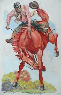 Original old Comic / Book Illustration Artwork - Cowboy On Bucking Bronco, Rodeo