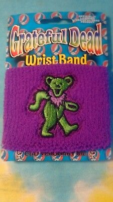 One Grateful Dead Green Dancing Bear on Purple Sweatband Wristband