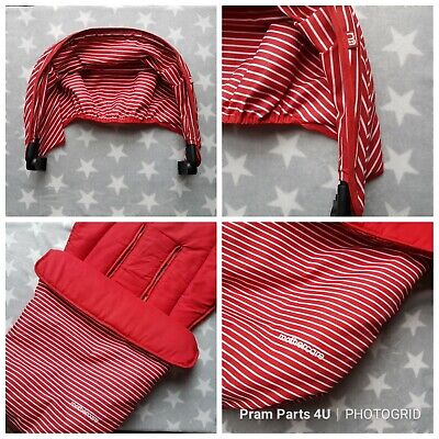 Mothercare Xpedior Red White Stripe Pram Colour Pack inc Cosy Toe Footmuff Hood