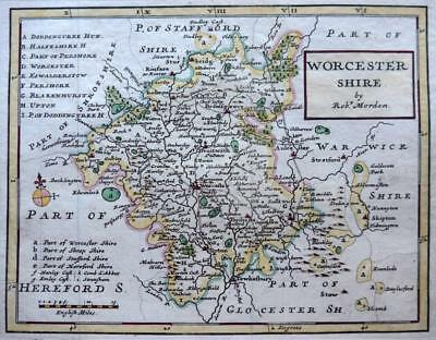 WORCESTERSHIRE  BY ROBERT MORDEN  c1731  GENUINE ANTIQUE COPPER ENGRAVED MAP
