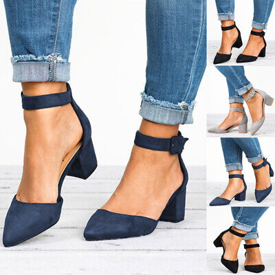 Women Block Heel Pumps Ladies Ballerina Casual Ankle Strap Sandals Shoes Size 6