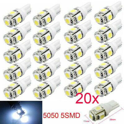20PCS T10 Super White Wedge 5-SMD 5050 LED Light bulbs W5W 2825 158 192 168 194