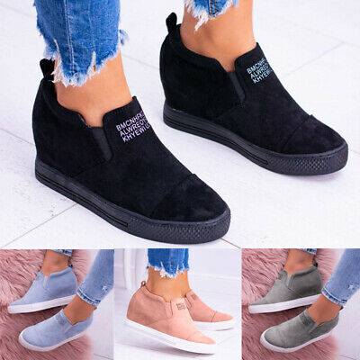 Women Hidden Wedge Sneaker Trainers Lady Summer Casual Slip On Sport Shoes Size