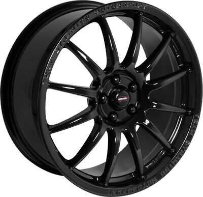 "Alloy Wheels 16"" Team Dynamics Pro Race 1.2 Black Gloss For Peugeot 208 12-19"