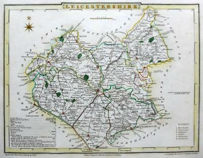 LEICESTERSHIRE LEICESTER  BY ROPER & COLE GENUINE ANTIQUE MAP HAND COLOUR  c1810