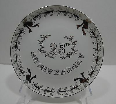 Silver Anniversary Commemorative Display Plate 25th Keepsake Presentation Gift