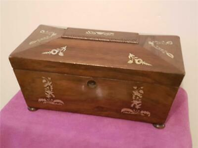 19th Century Victorian Tea Caddy Box with Mother of Pearl for Light Restoration