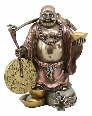 Feng Shui Lucky Laughing Buddha With Fortune Coins Gold Ingot And Gong Statue