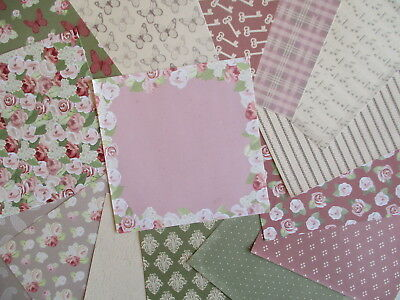 "Simply Creative Floral Notes 15 sheets 6x6"" Scrapbook backing Paper roses"