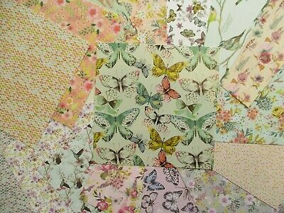 "Paper Flowers 6x6"" Scrapbook Backing Papers 16 sheets - floral butterflies birds"
