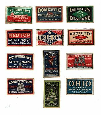 12 Old USA c1930s used matchbox labels Green Goddess etc.