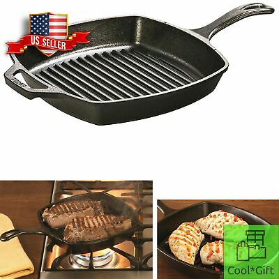 "Cast Iron Grill Pan 10.5"" Lodge Pre Seasoned Steak Bacon Grilling Square Skillet"