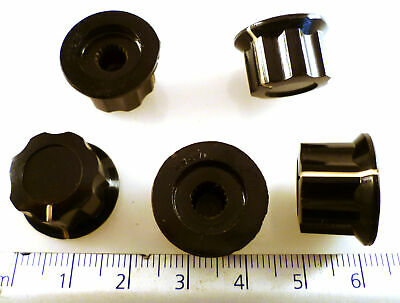 Radio Knobs Black with White Line To Suit Splined 6mm Shaft 5 Pieces OM0329