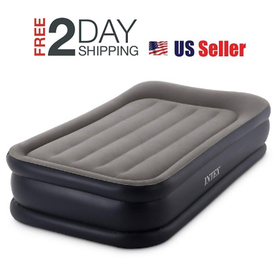 Intex Deluxe Raised Pillow Rest Air Mattress Bed with Built-In Air Pump, Twin