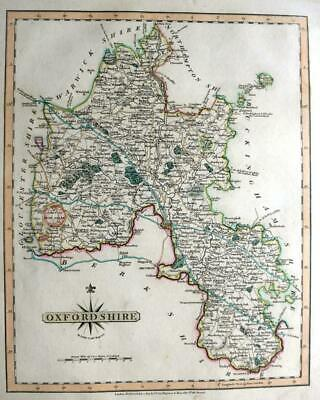 OXFORDSHIRE OXFORD   BY JOHN CARY GENUINE ANTIQUE ENGRAVED  MAP  c1809