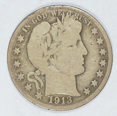 1913 Barber Half Dollar GOOD Silver 50c