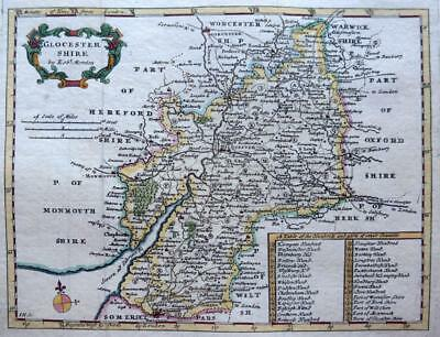 GLOUCESTERSHIRE  BY ROBERT MORDEN  c1720  GENUINE ANTIQUE COPPER ENGRAVED MAP