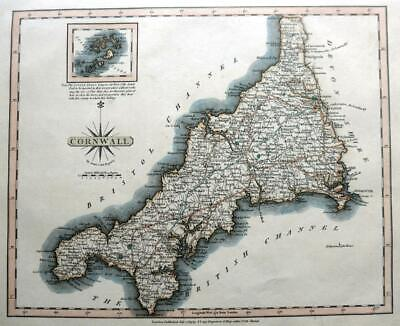 CORNWALL SCILLY ISLES  BY JOHN CARY GENUINE ANTIQUE ENGRAVED  MAP  c1809