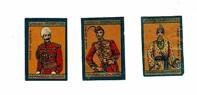 3 Old Austria SOLO c 1915 matchbox labels depicting Indian Celebrities.