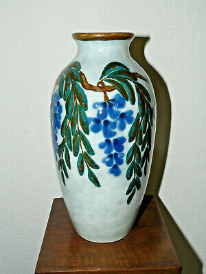 Ancien Grand Vase Ovoide Art Deco Camille Tharaud-Decor Glycines-Annee 1925
