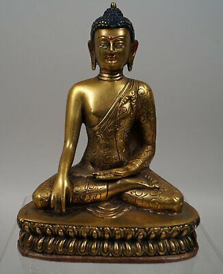 Asiatika - Antike Buddha Figur im Lotussitz - China - Asien