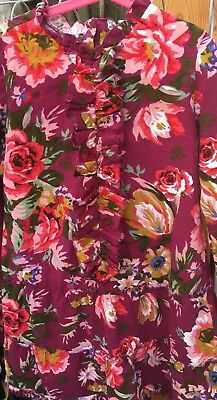 Floral Cord Tunic Top Size 8, Long Sleeve, Kidson, Ashley, Ruffled Front