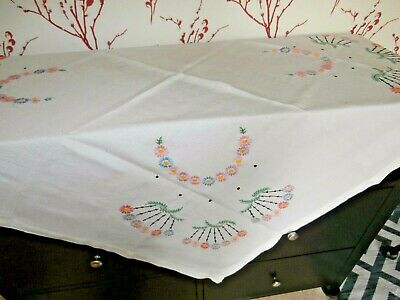 "VINTAGE OFF WHITE IRISH COTTON HAND EMBROIDERED FLORAL TABLECLOTH 46"" x 46"""