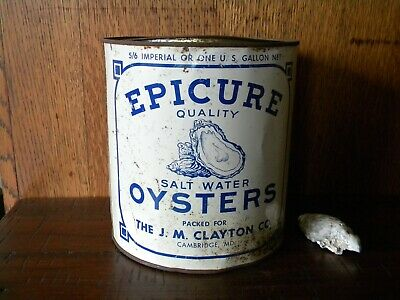 Vintage Gallon Epicure Quality Salt Water Oyster Tin Can ~ Cambridge Md ~ Va 487