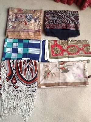Mixed Lot of 6 x Ladies Vintage Head Scarves & Shawls Various Sizes