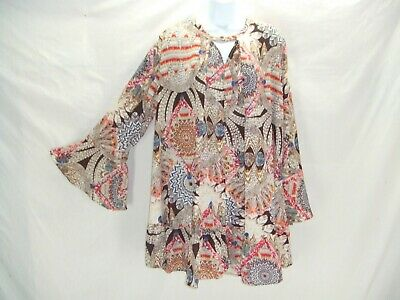 aedf847a43a Umgee Sz M Boho Feather Tunic Top Shift Dress Keyhole Flowy Hippie  Festival~zz