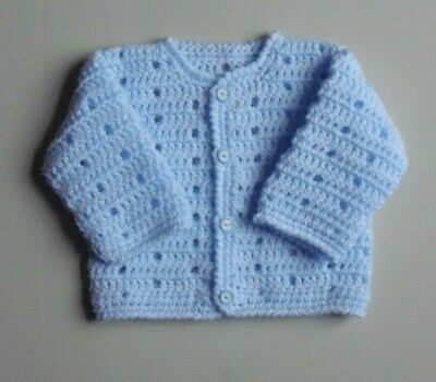 New Hand Crochet Baby Boys Blue Cardigan Fit 0 3 Months 406