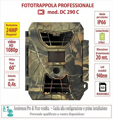 Fototrappola mimetica 24MegaPixel - Led invisibili -Video HD -Professionale