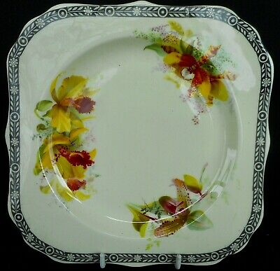 """Royal Doulton """"orchids"""" Side Plate With Three Different Hand Finished Flowers"""